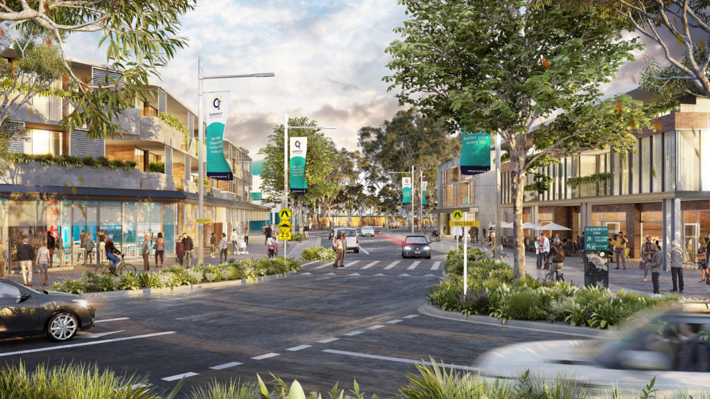Artists impression of how Barry Street in GLenorchy could look in 2040 under the Greater Glenorchy Plan