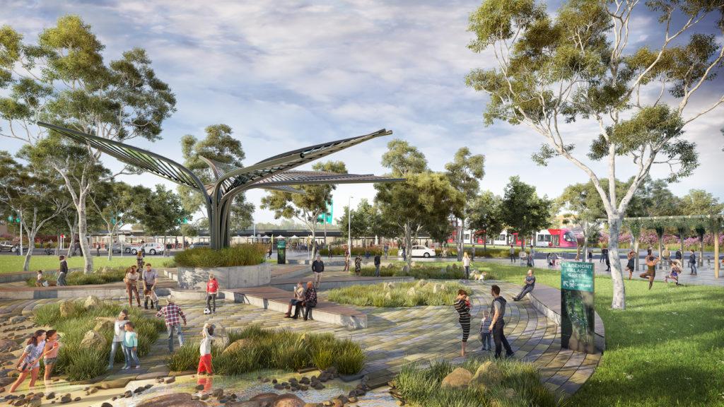The Claremont Village Green in 2040 (artist's impression)