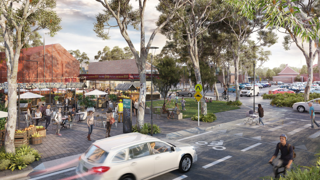 Artists impression of how the Moonah Car Park could look in 2040 under the Greater Glenorchy Plan
